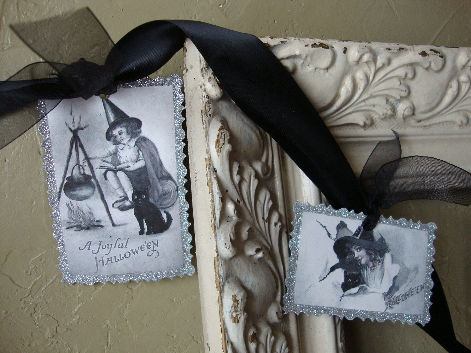 Vintage style Halloween Garland with Black and white images