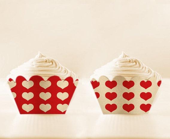 Printable Cupcake Wrappers RED Retro Love DIY VALENTINES