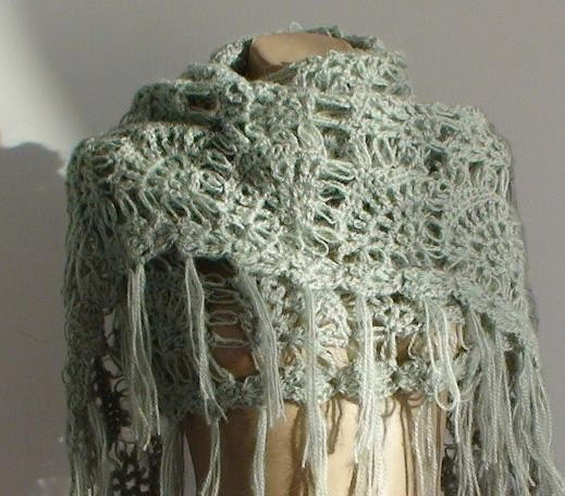 SHIPS IMMEDIATELY - Light Green Mohair Warm Shawl with Fringe
