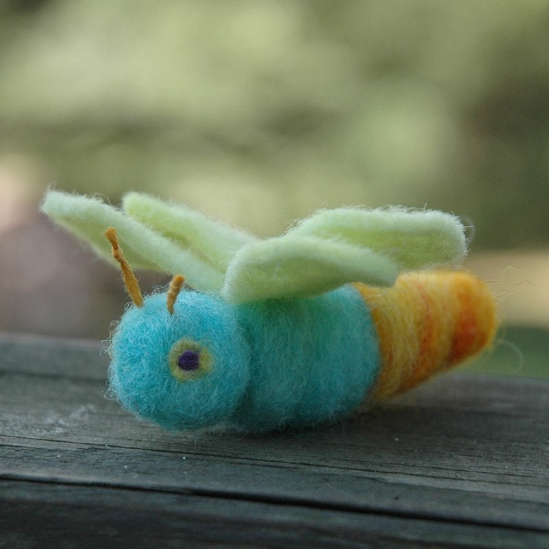 Lightning Bug - Blue Needle Felted Firefly