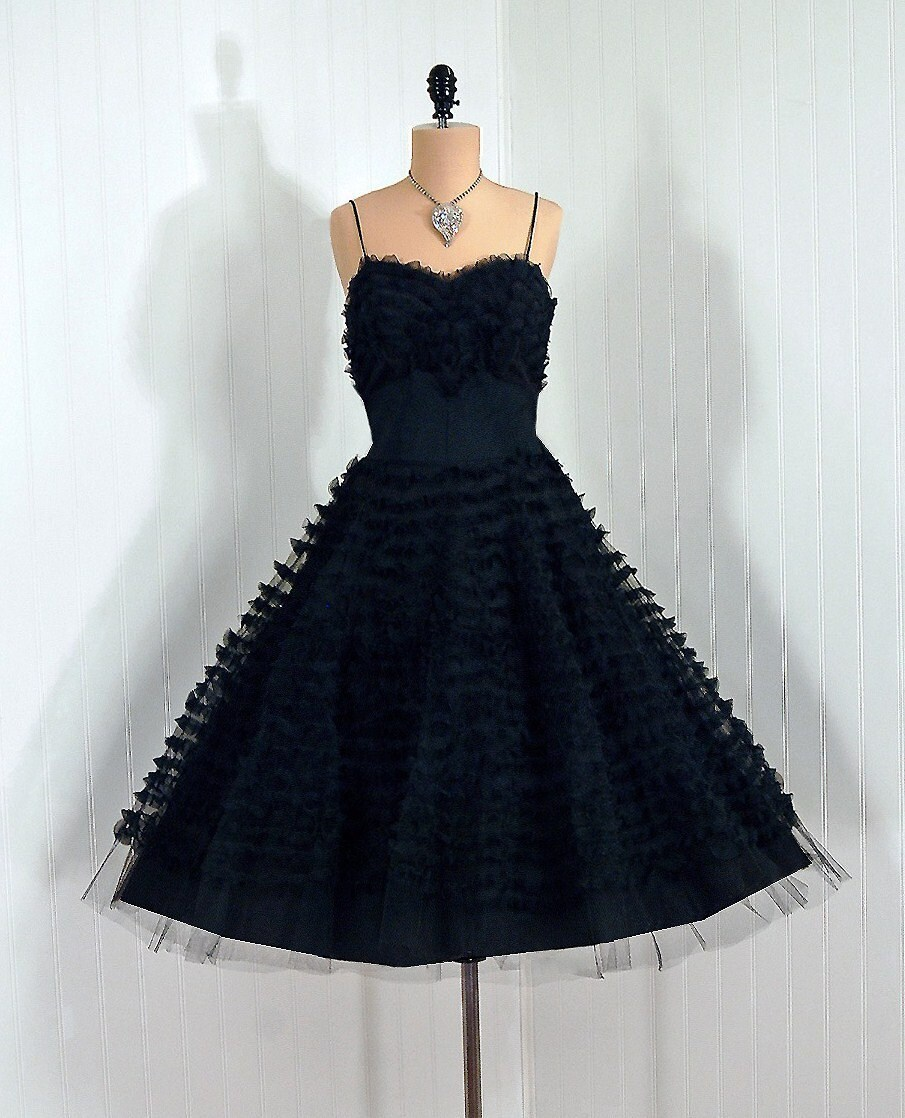 1950's Vintage Midnight-Black Sheer Ruffle-Swirl Illusion Tulle-Couture Sweetheart Shelf-Bust Plunge Rockabilly Nipped-Waist Princess Ballerina-Cupcake Bombshell Full Circle-Skirt Wedding Formal Evening Cocktail Prom Party Dress