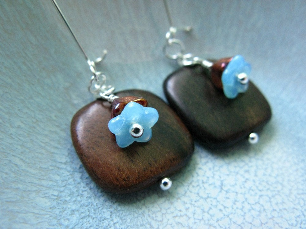 Tiger Ebony Wood and Baby Blue Glass Flower earrings