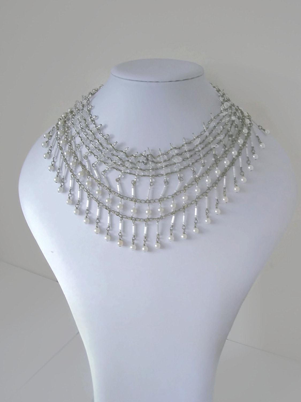 Vintage Bride Necklace  Collar Pearls Quartz Antique Gold Drop multi layer statement jewellery