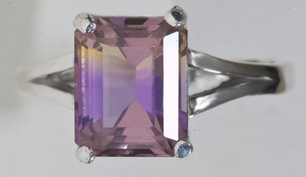 Natural Ametrine 3.41ct  Emerald Cut Sterling Silver Ring