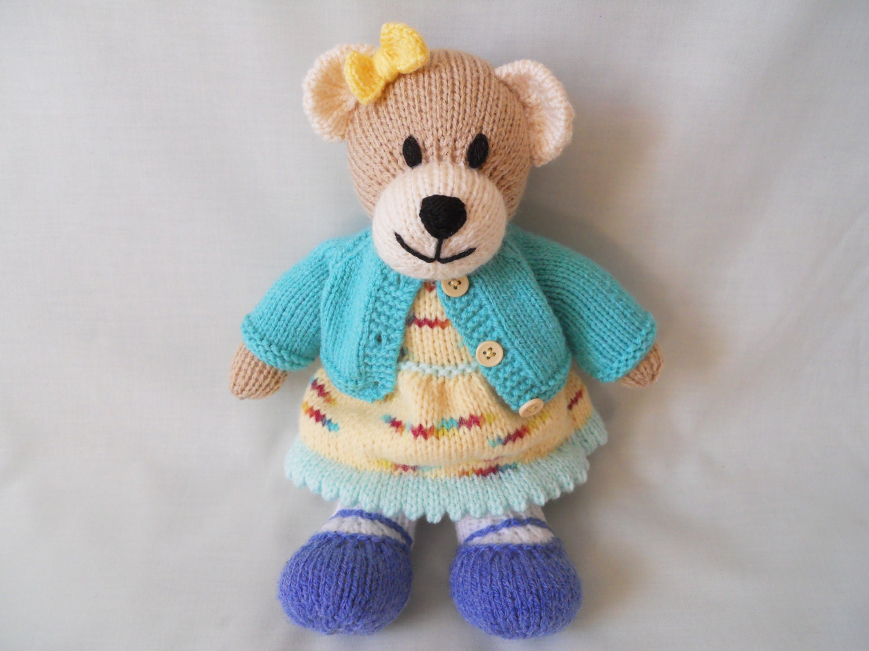 Teddy Bear Hand Knitted Bear Hannah knitted Teddy Baby Child Gift Little Girl Gift Baby Shower Gift