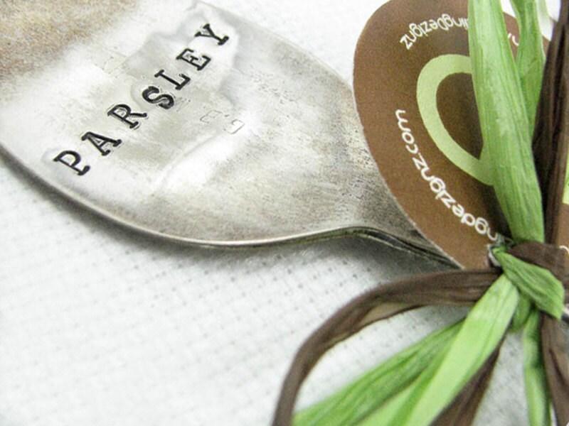 Garden Marker - Hand Stamped Vintage Spoon, Plant Marker, Shabby Chic Herb Marker, Upcycled - DazzlingDezignz4U