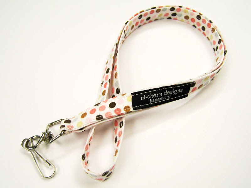 Short Fabric Lanyard - Pink Brown Dots on White