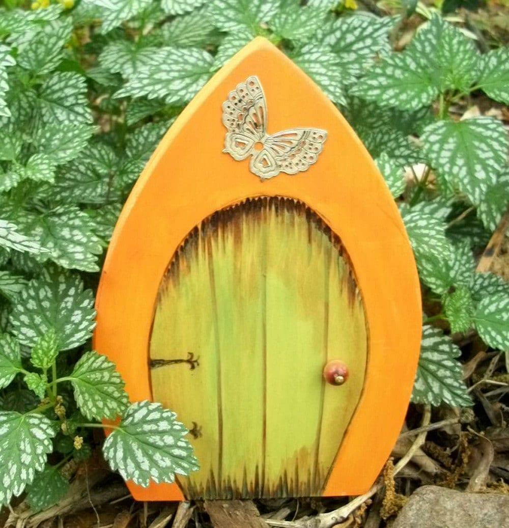 Волшебную дверь готический магический портал оранжевый и зеленый с бабочкой 6 дюймов