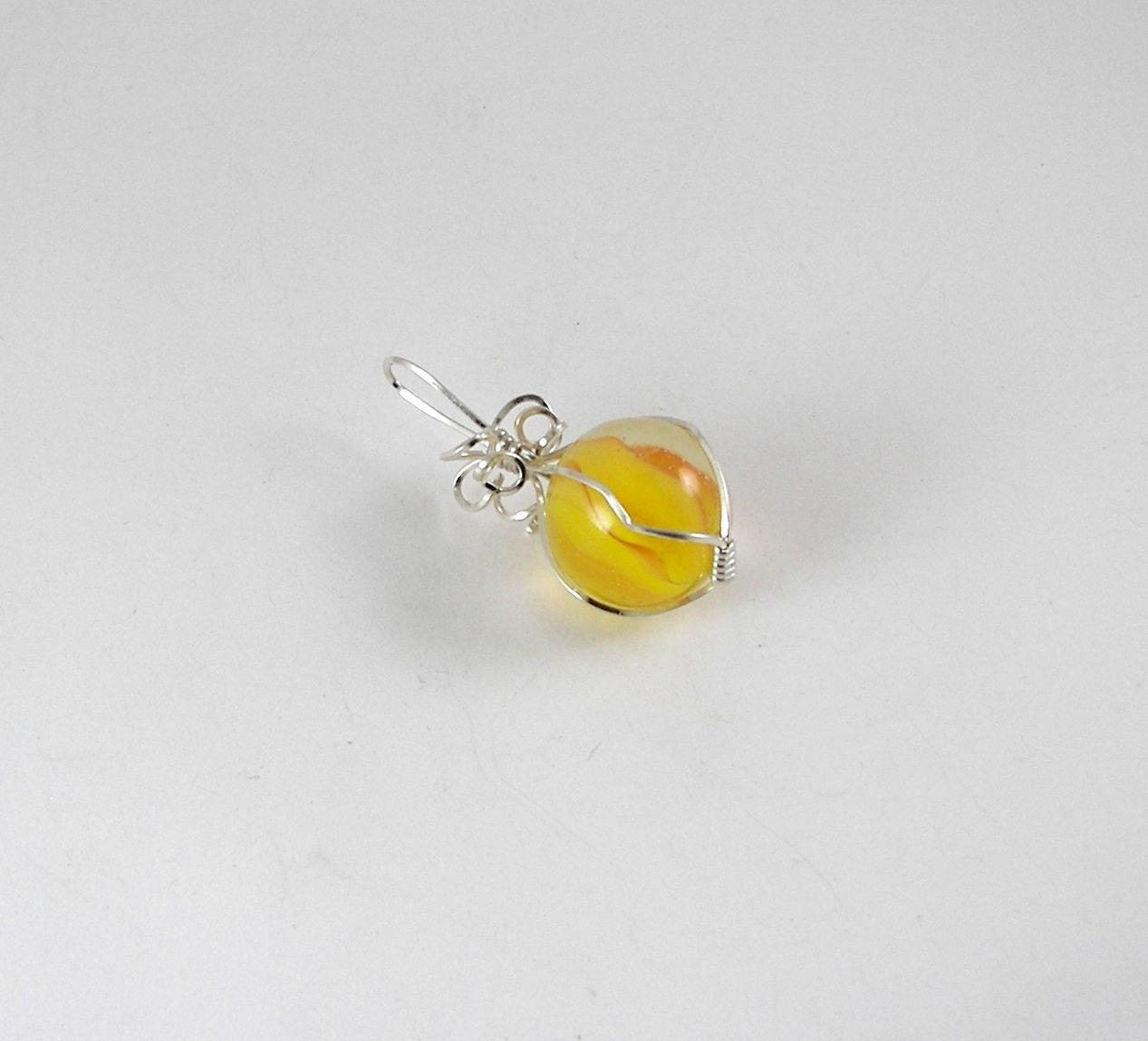 RESERVED - Vintage Wire Wrapped Marble Pendant