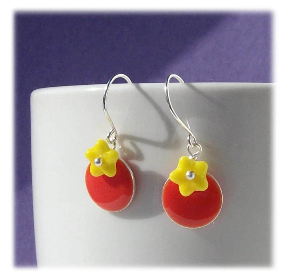 handmade yellow orange flower earrings pawandclawdesigns