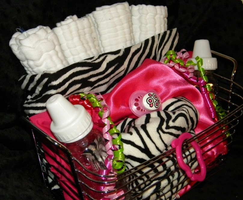 Zebra Baby Girl Gift Set Blanket, Burp Cloths, Bibs, Toys