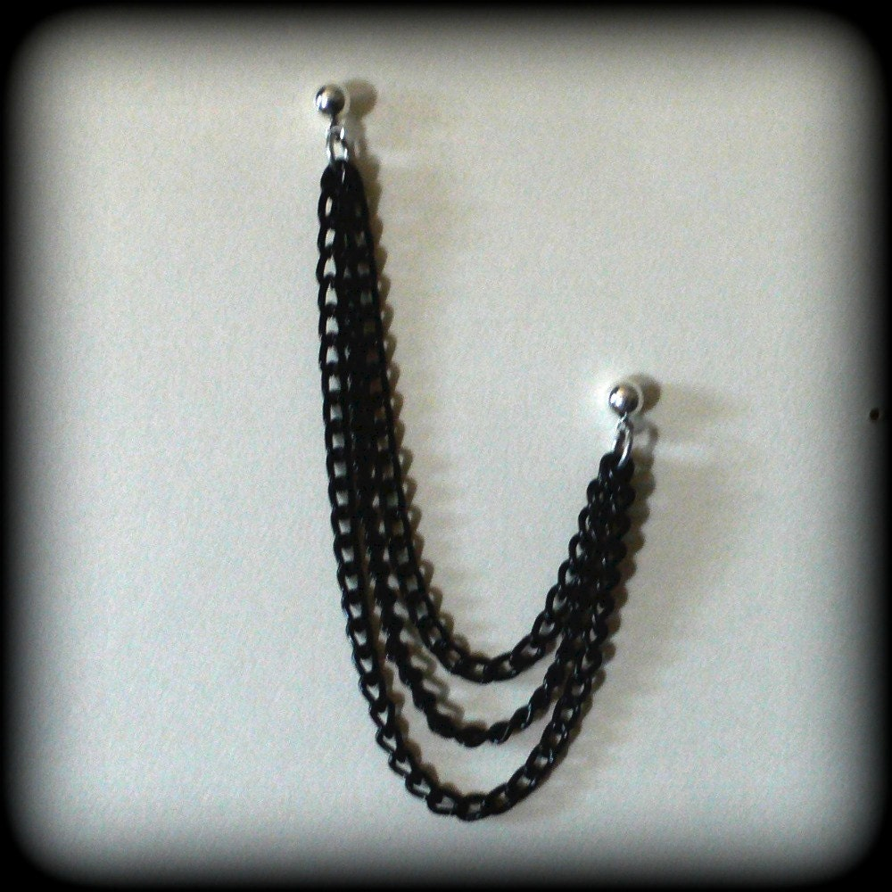 cartilage chain earring black chain by dragonrose