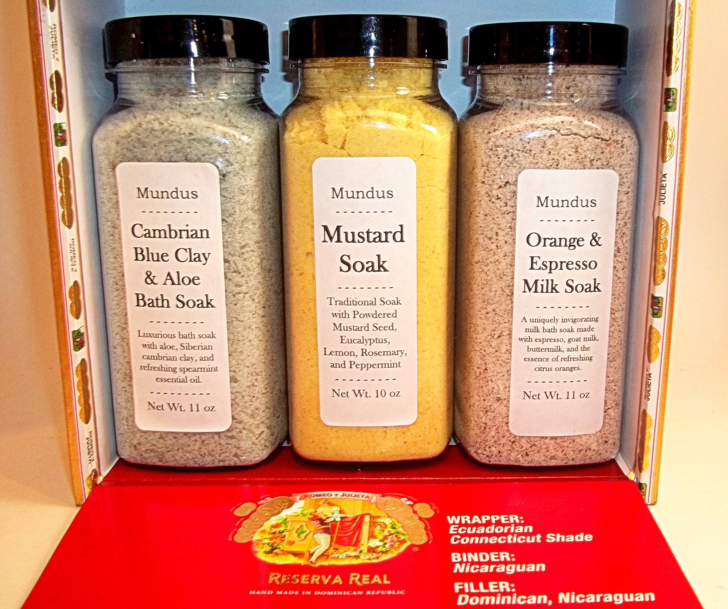 Ultimate Bath Soak Gift Set - Set of 3 in Upcycled Wooden Cigar Box - Mundus