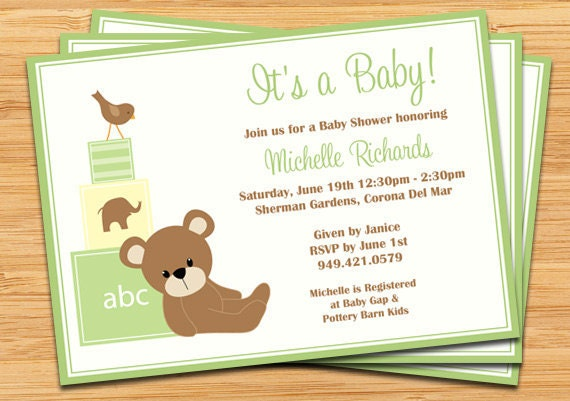 green teddy bear baby shower invitation baby blocks and bird by