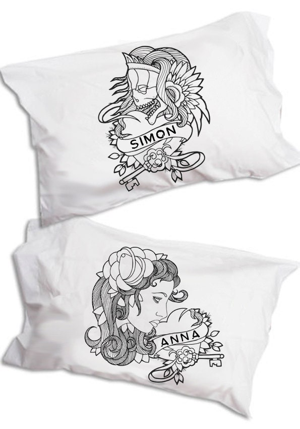 Personalised Name Pillow, Tattoo Flash, Pillowcase Pair