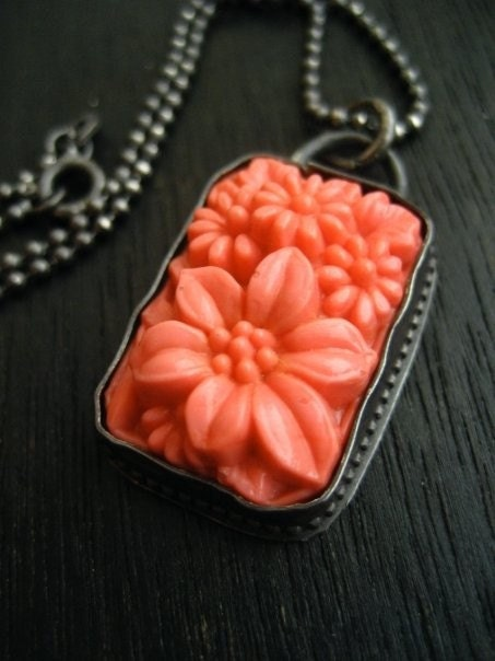 Coral Vintage Japanese Rectangular Glass Pendant