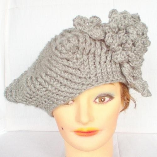 Square Beret in Gray by strawberrycouture on Etsy from etsy.com