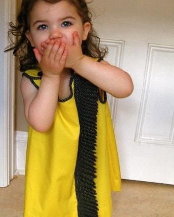 girls handmade dress / mod yellow is the new black