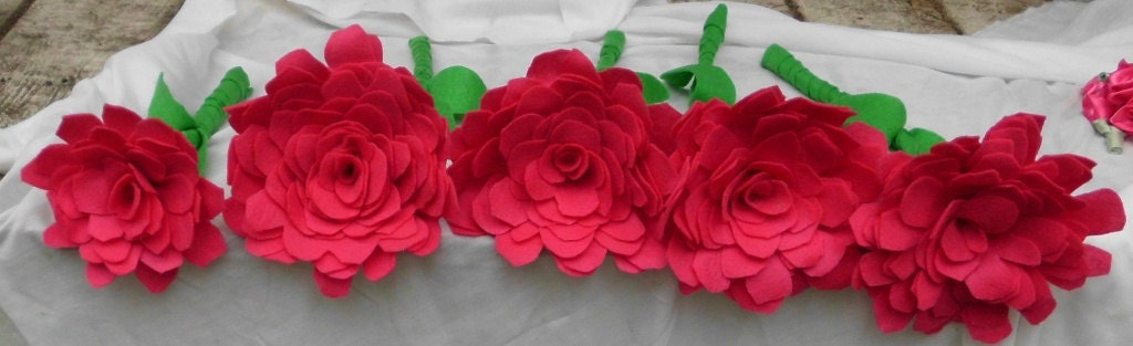 Custom Wedding Bouquet Table Decoration, Set of 10 Flowers, Felt, Large Fabric Flower, Shabby Chic Decor, Rustic Wedding Decor,, Composite,