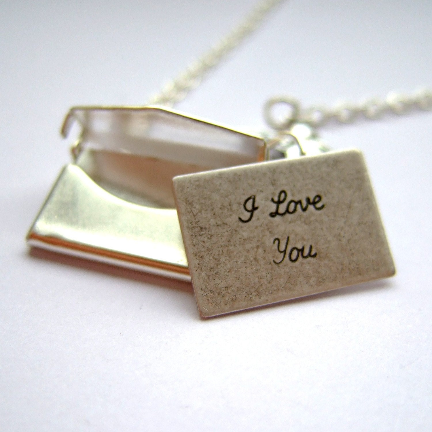 "Opening silver love letter necklace - ""Special Delivery"""