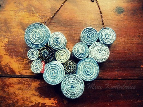Recycled Levis Jean Bib Necklace No2