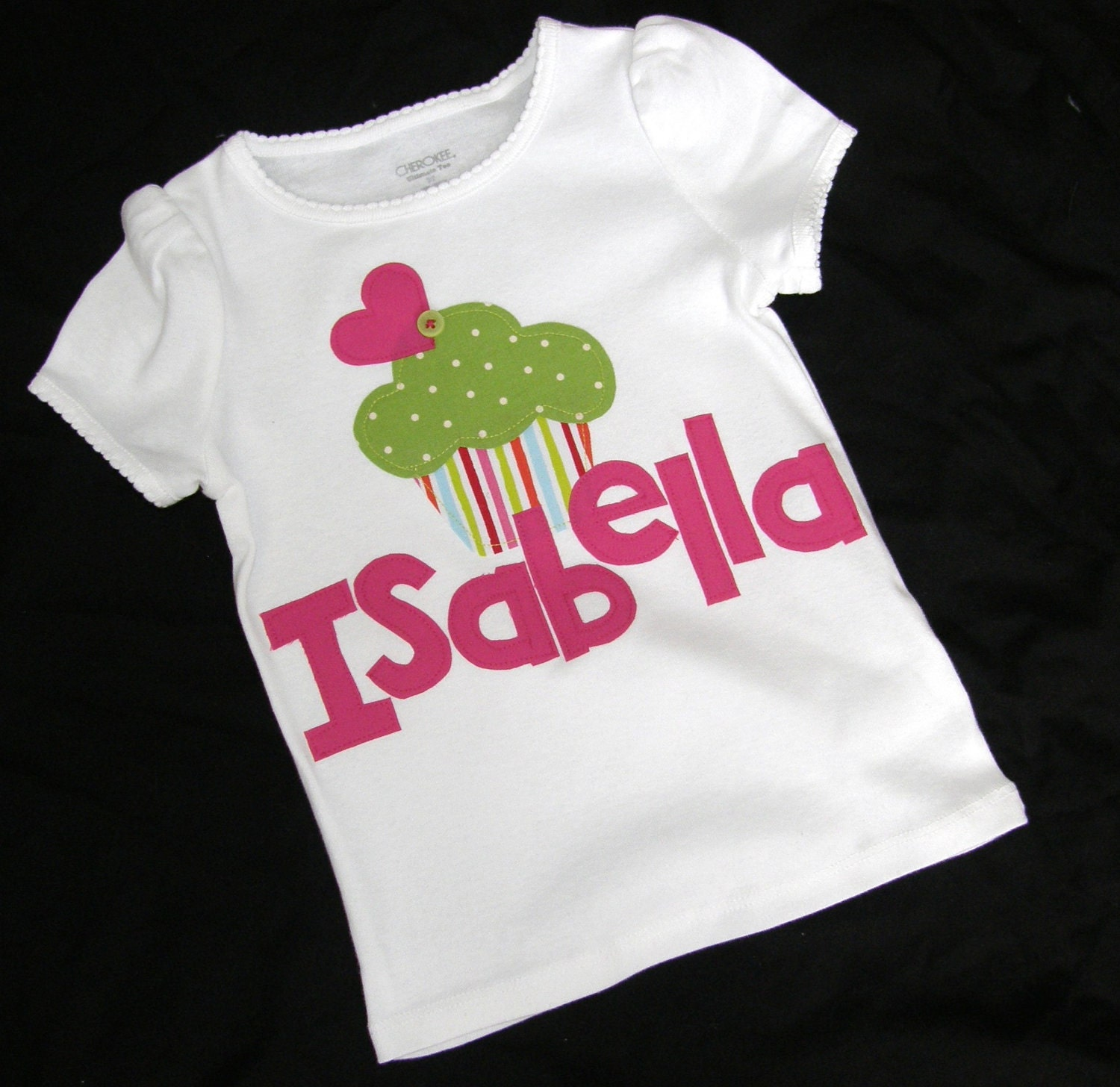 Baby girl, toddler onesie with lime green polka dot and striped cupcake applique personalized with initial name in sizes newborn, 3m 6m 9m 12m or a plain white onesie or shirt sizes 12m 18m 24m 3T 4T 5T 6 7 8 10 12 14 16
