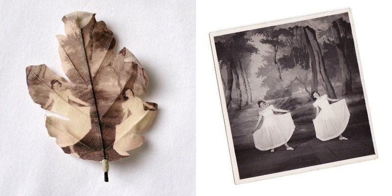 Custom made Oak leaf brooch printed with your photograph