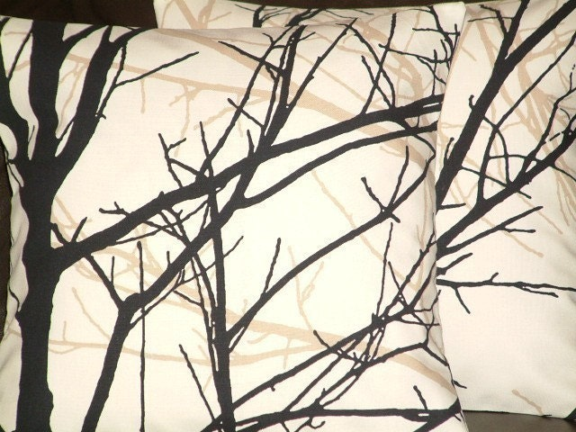 Two New 18 inch Handmade Contemporary Cotton Black Coffee Brown Tree Design Designer Funky Cushion Covers,Pillow cases,Pillow Covers ,Pillow,NEW FABRIC