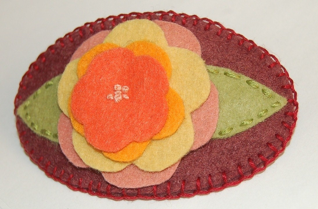 Neskat's Embroidered Flowers Wool Felt Barrette