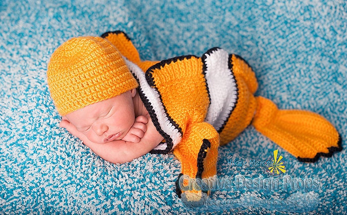 Clownfish costume for baby finding nemo by creativedesignprops for Baby fish costume