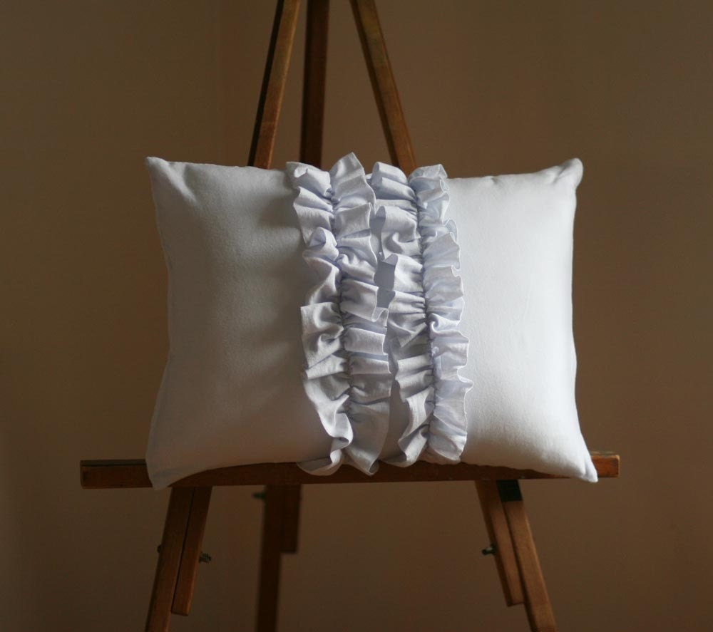 Pale Grey Double Ruffle Lumbar Pillow