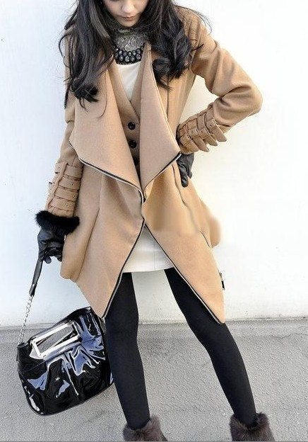 Graceful Large Lapel  Woolen Coat women dress with zipper Autumn Winter---CO023