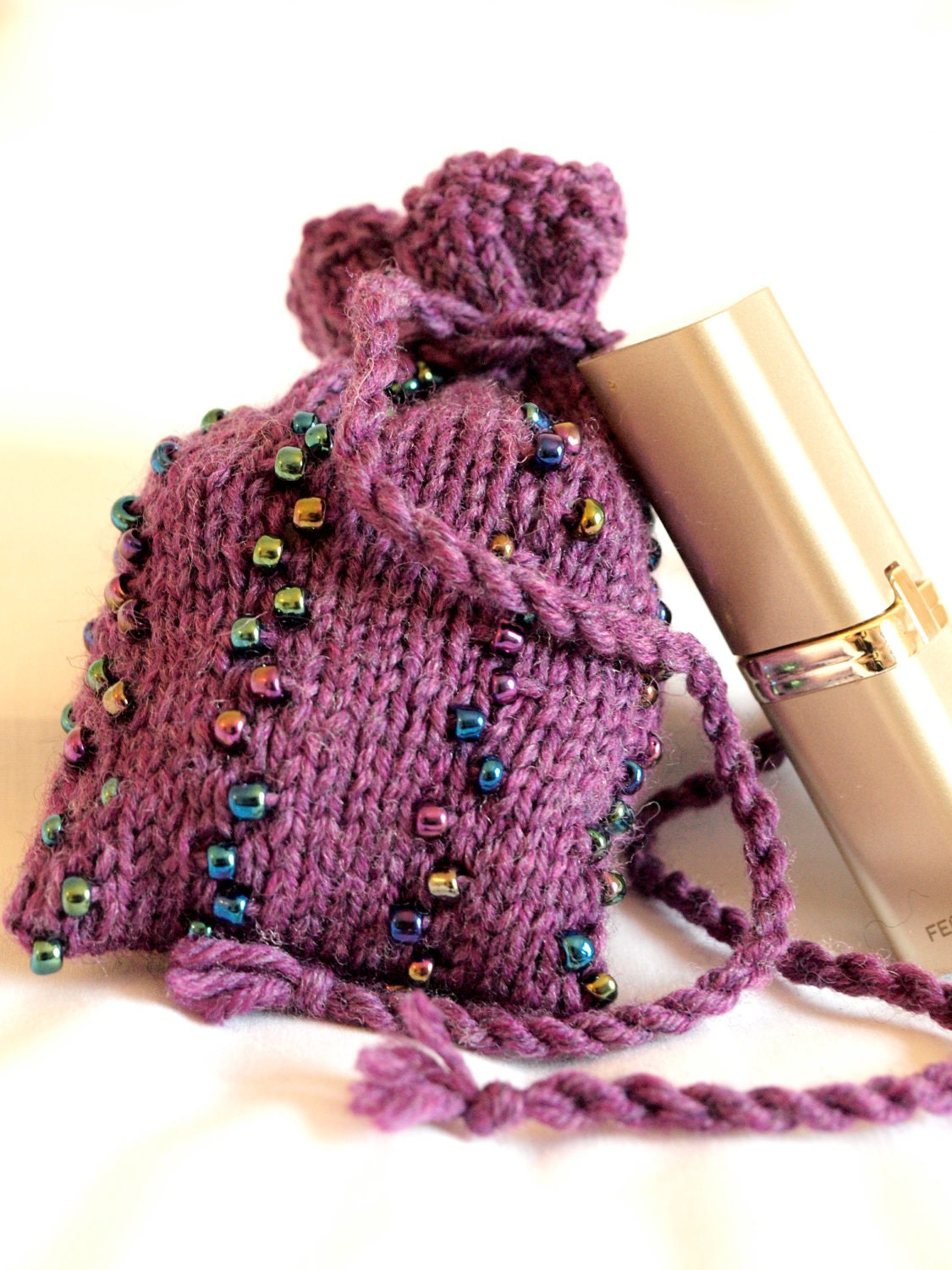 Beaded purple knit drawstring bag pouch coin pouch gift card bag ...