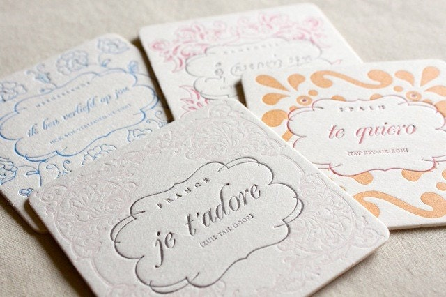 Letterpress LOVE Coasters- QTY//8