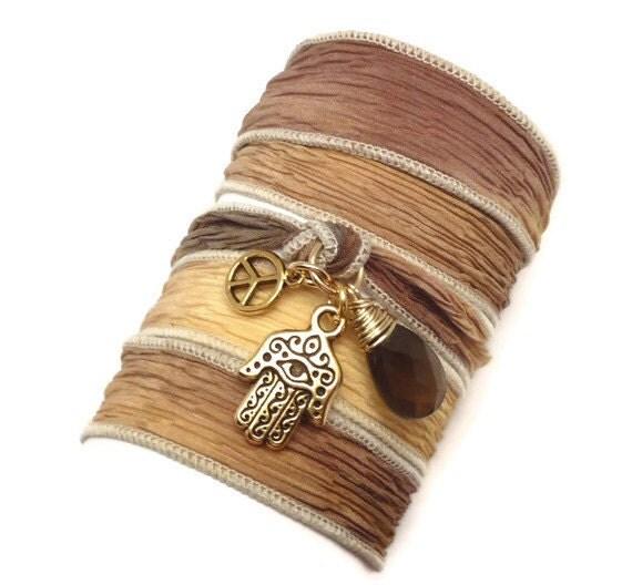 Silk Wrap Bracelet with Hamsa, Peace Sign, and Smoky Quartz, yoga jewelry, wrapped wrapping bracelet, wrap around,wrist wrap