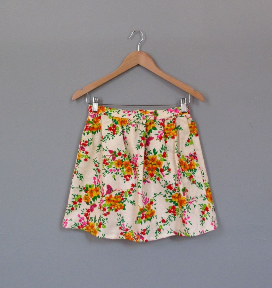vintage 70's BUTTERFLY mini skirt S