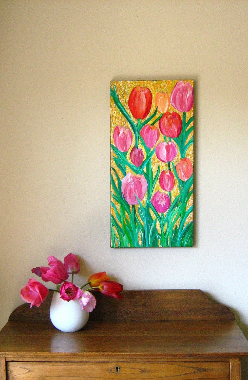 Tulips - original floral painting on 12 x 24 canvas