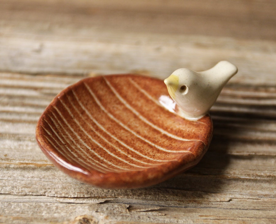 Wood Grain Pottery Tray with Tiny White Bird - Faux Bois