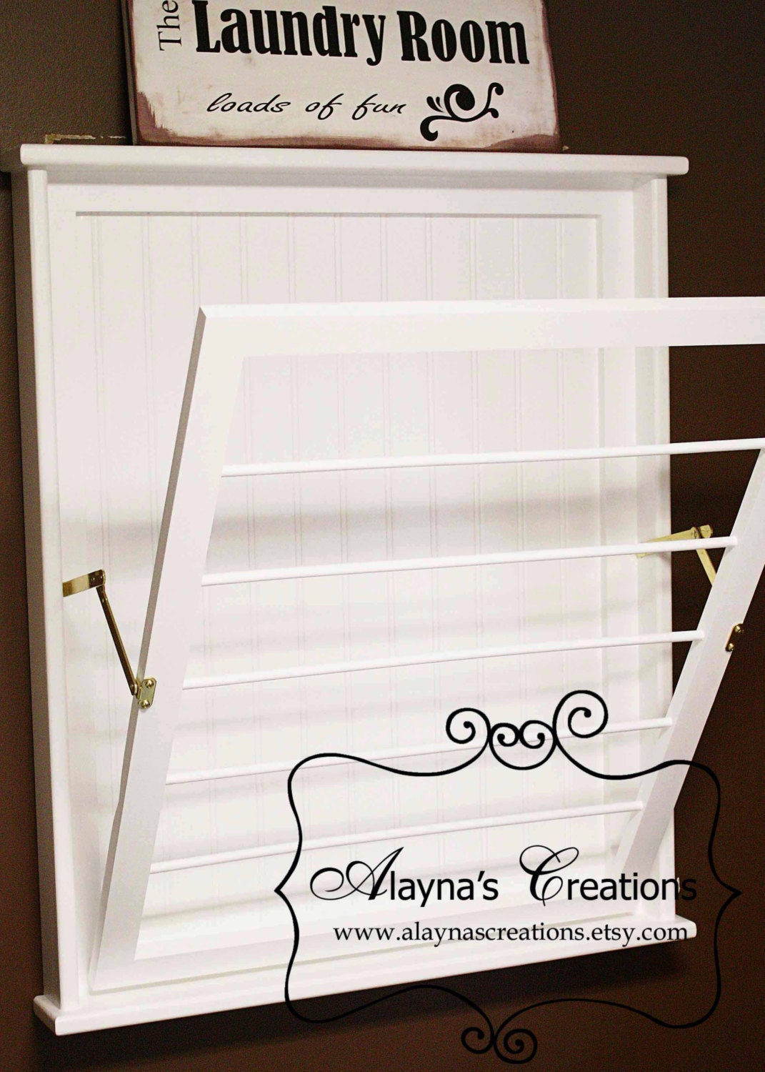 wall mounted laundry drying rack by alaynascreations on etsy. Black Bedroom Furniture Sets. Home Design Ideas