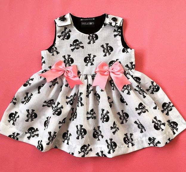 Skeletots  skull  bones dress with pink bows baby girl goth rockabilly ages 024m