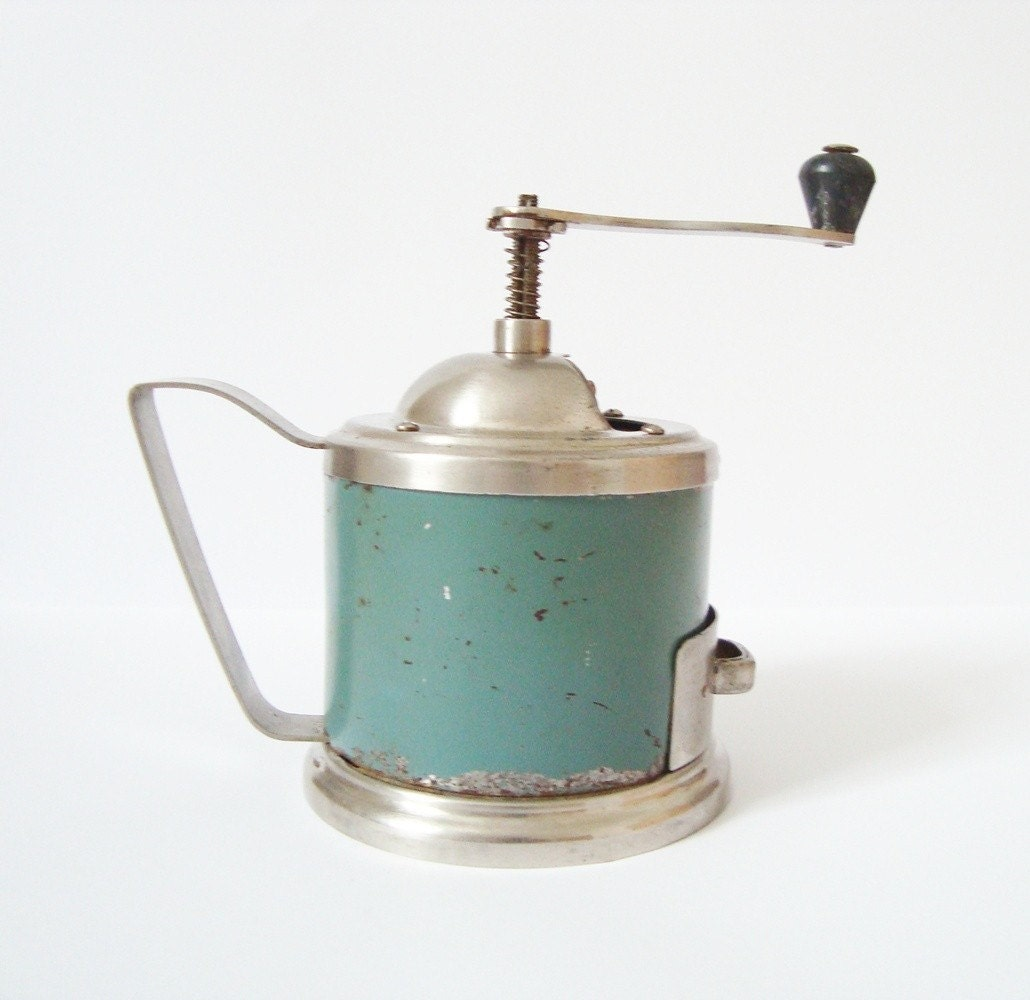 Coffee Grinder made in Russia Soviet Union USSR turquoise color
