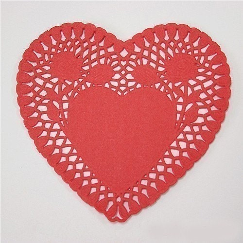 4inch Heart shaped Red Paper Doily (1pack 250 sheets)