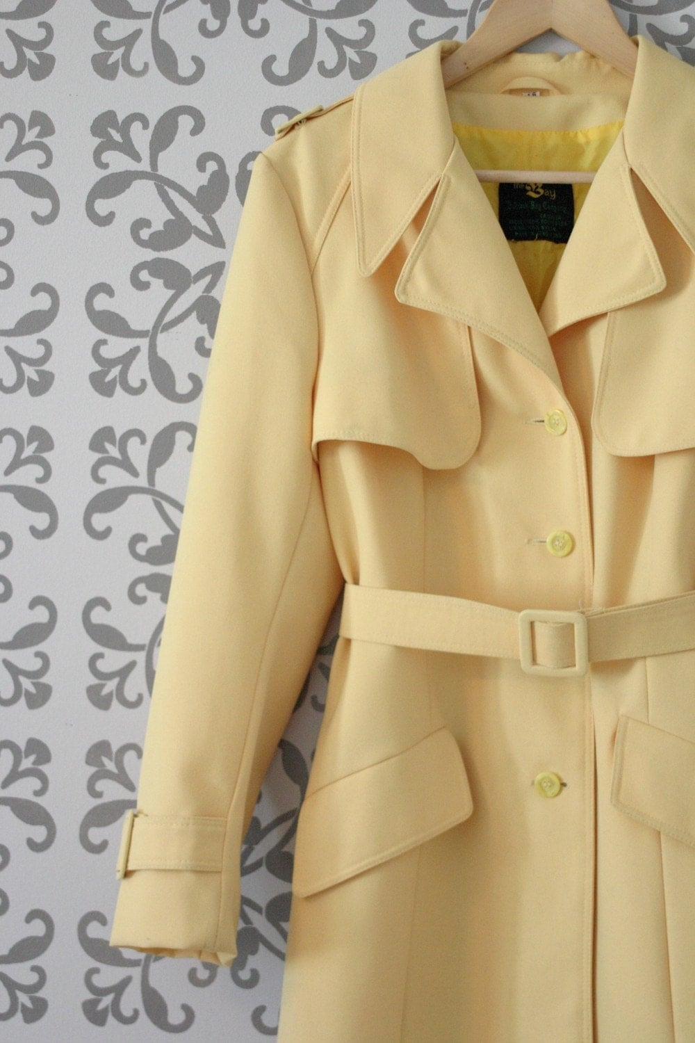 The Lemon Drop: Sunny Yellow 1970s Vintage Trench Coat, size medium-large