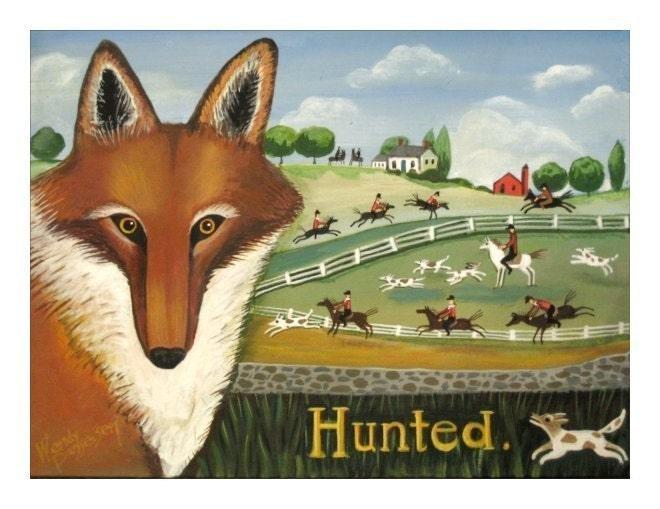 FOX HUNT Signed Folk Art Print RED FOX  Horses Dogs ART POSTER Wendy Presseisen