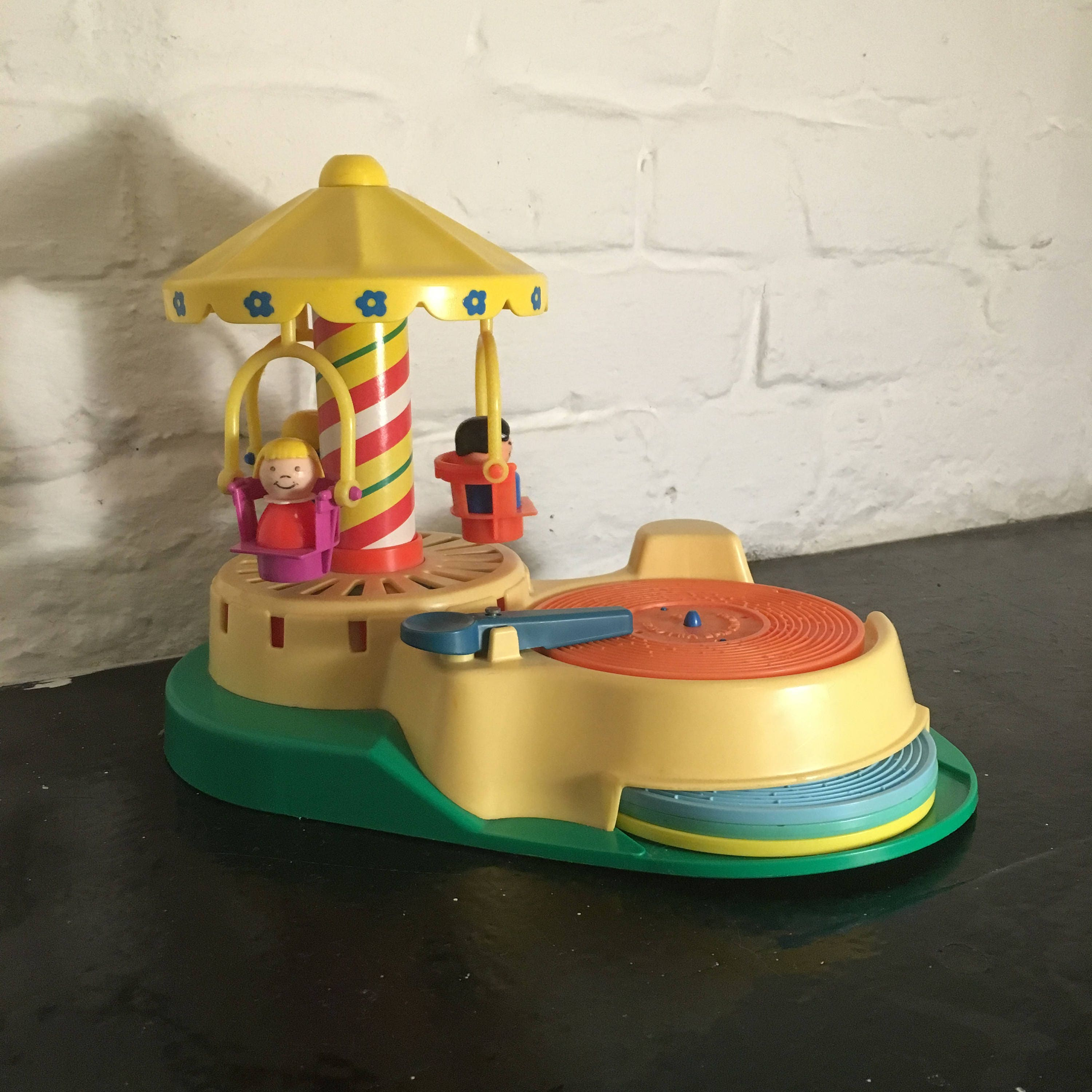 Vintage 1980s Fisher Price ChangeATune Record Player and Carousel, Model no. 170