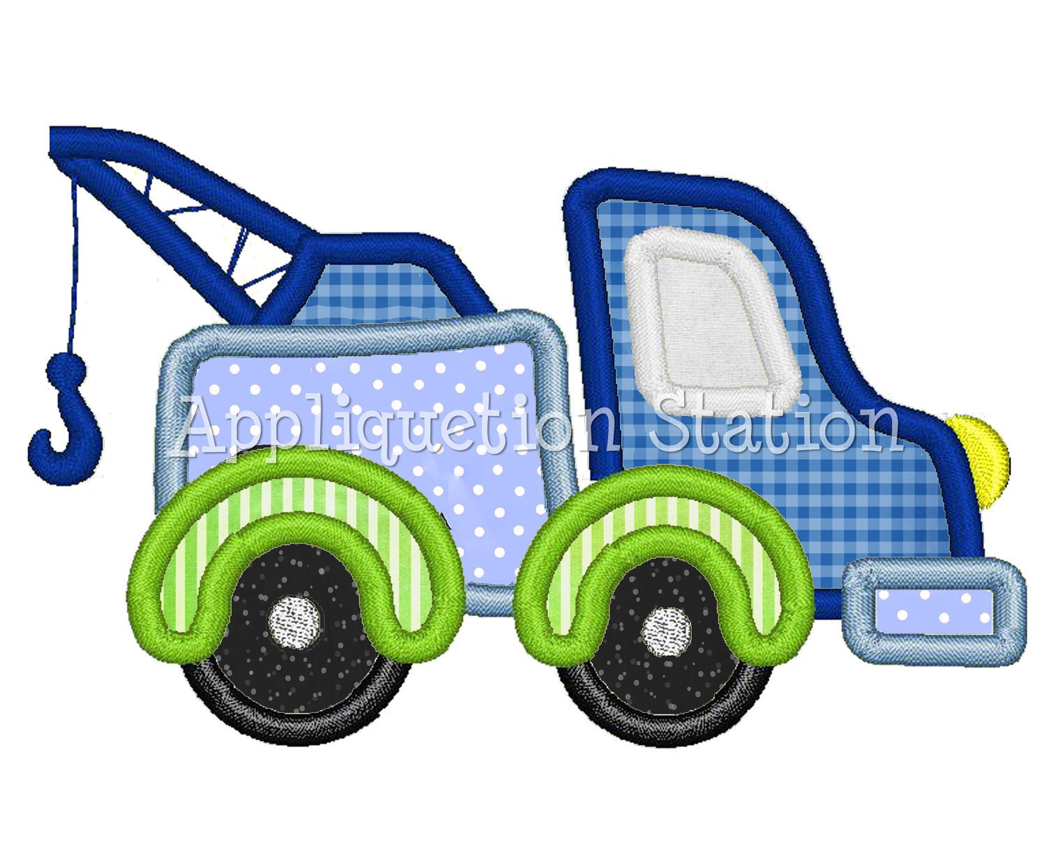 Tow Truck Applique Machine Embroidery By AppliquetionStation