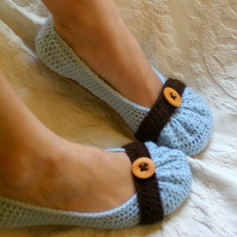 PDF Crochet Pattern for Cute as a Button Ballet Flat House Slippers U.S. women's sizes 5-10