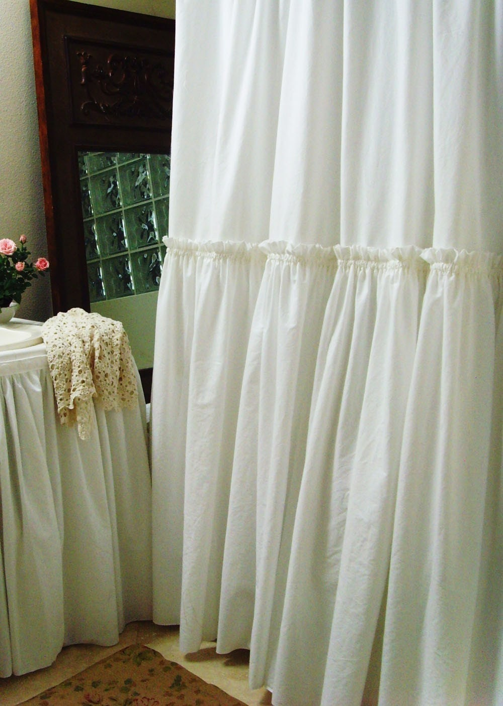 Items similar to White Ruffle Shower Curtain by Simple