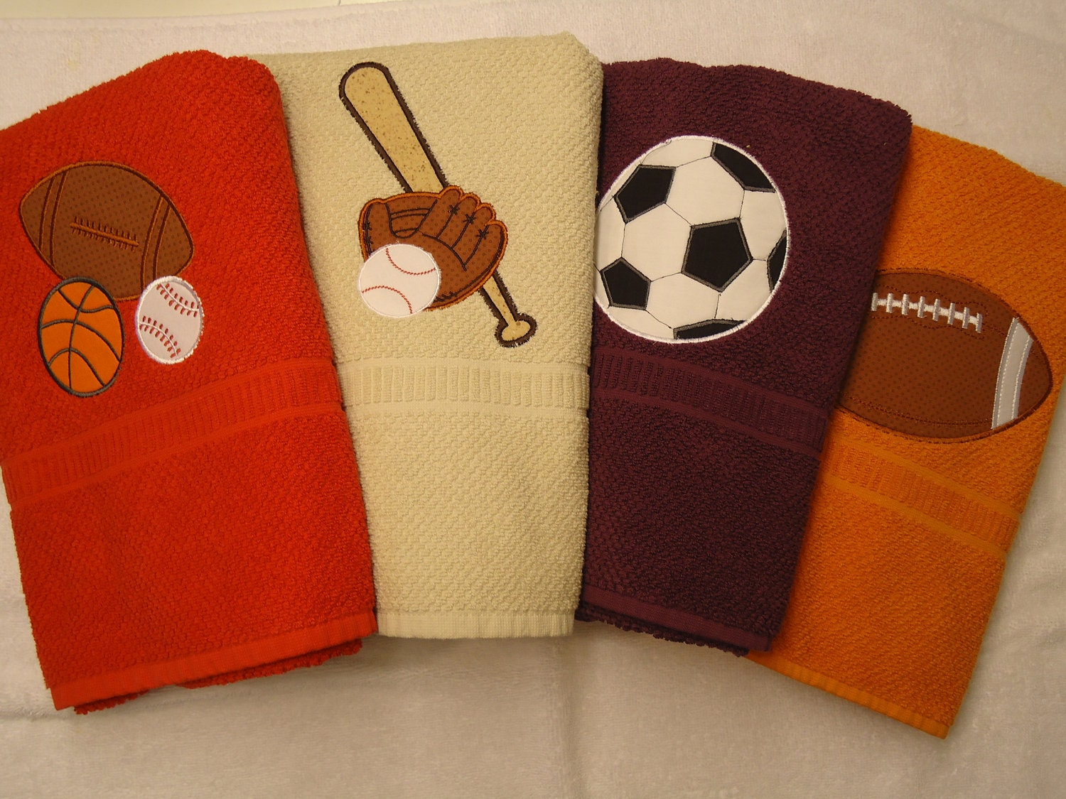 Sports theme appliqued bath towels from the half pint shop free