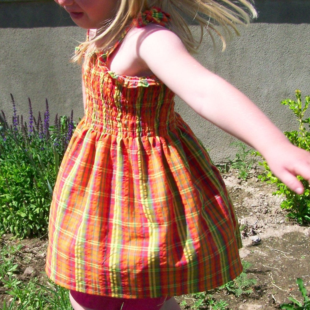Shirred top gathered Plaid Orange yellow and green size  5 to 8 SALE
